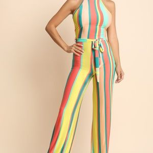 Striped Sleeveless Cutaway Mock Palazzo Jumpsuit